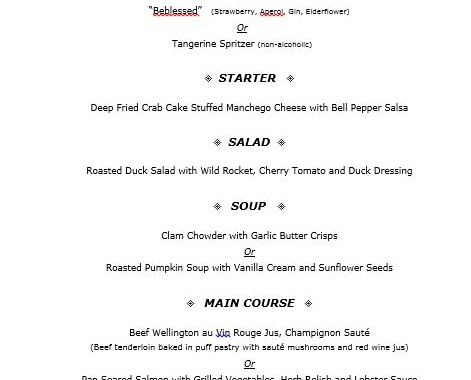 Our New Year's Eve Dinner menu is out!